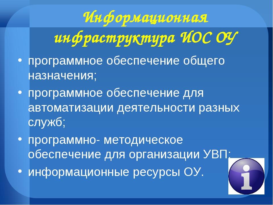 Информационная инфраструктура ИОС ОУ программное обеспечение общего назначени...