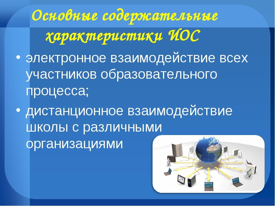 электронное взаимодействие всех участников образовательного процесса; дистанц...