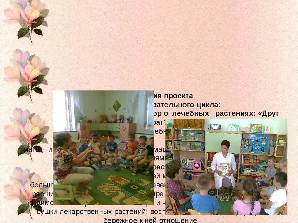 Реализация проекта 1. Занятия познавательного цикла:   Ситуативный разгово...