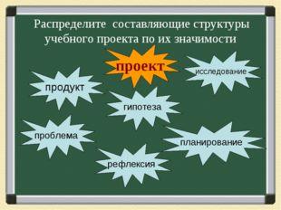 Распределите составляющие структуры учебного проекта по их значимости проект