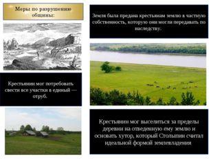 Меры по разрушению общины: Земля была предана крестьянам землю в частную собс