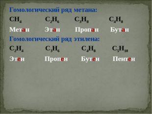 Гомологический ряд метана: СН4 С2Н6 С3Н8 С4Н8 Метан Этан Пропан Бутан Гомолог