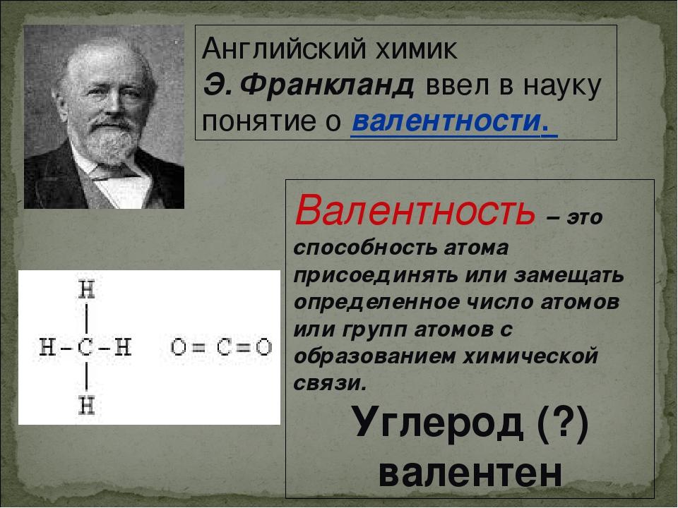 Английский химик Э. Франкланд ввел в науку понятие о валентности. Валентность...