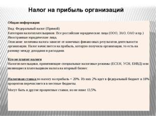 Налог на прибыль организаций Общая информация Вид: Федеральныйналог (Прямой)