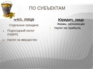 ПО СУБЪЕКТАМ Физ. лица Отдельные граждане Подоходный налог (НДФЛ) Налог на им