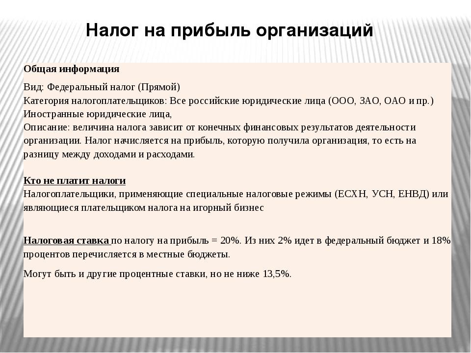 Налог на прибыль организаций Общая информация Вид: Федеральныйналог (Прямой)...