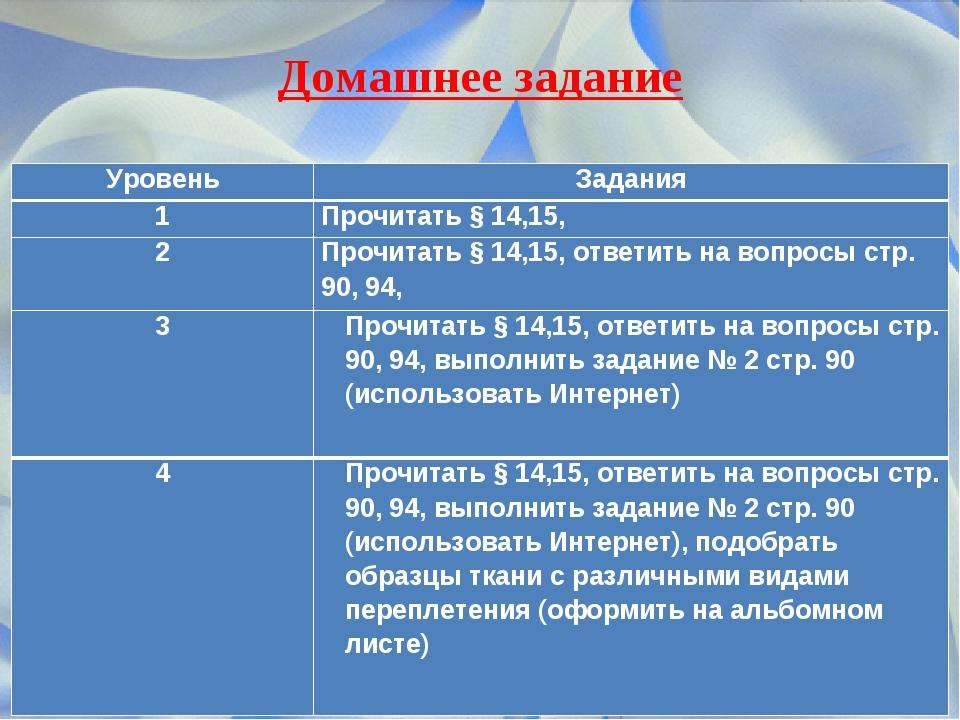 Домашнее задание УровеньЗадания 1Прочитать § 14,15, 2Прочитать § 14,15, от...