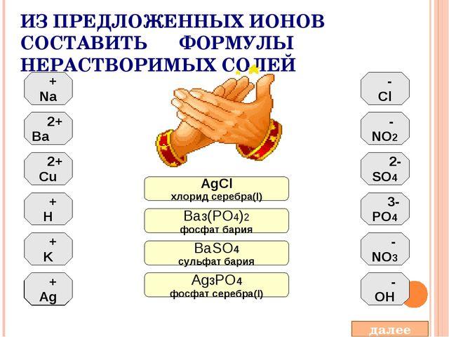 ИЗ ПРЕДЛОЖЕННЫХ ИОНОВ СОСТАВИТЬ ФОРМУЛЫ НЕРАСТВОРИМЫХ СОЛЕЙ + Na 2+ Ba 2+ Cu...