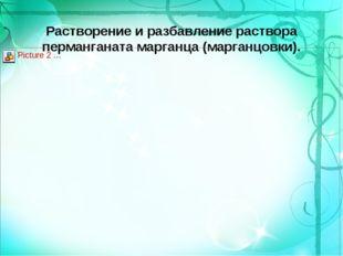 Растворение и разбавление раствора перманганата марганца (марганцовки).
