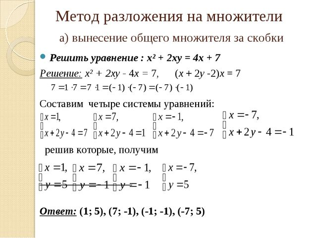 Метод разложения на множители а) вынесение общего множителя за скобки Решить...