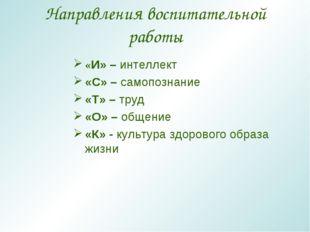 Направления воспитательной работы «И» – интеллект «С» – самопознание «Т» – тр