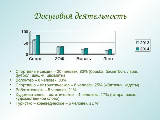 Досуговая деятельность Спортивные секции – 20 человек, 83% (борьба, баскетбол...