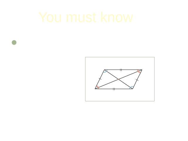 You must know The diagonals of a parallelogram are divided in half by the poi...