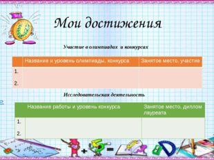 Мои достижения Участие в олимпиадах и конкурсах Исследовательская деятельнос