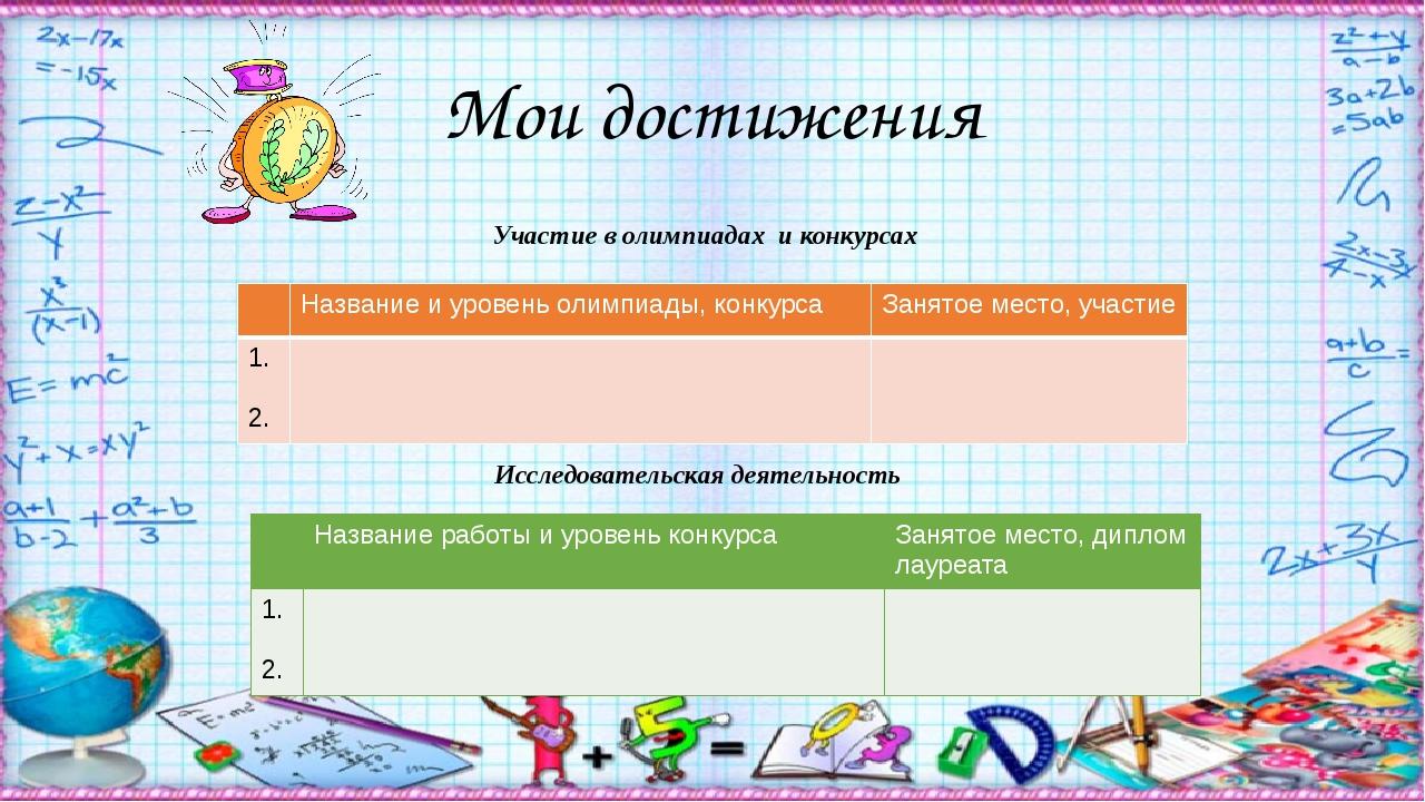 Мои достижения Участие в олимпиадах и конкурсах Исследовательская деятельнос...