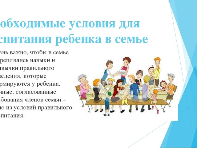 Необходимые условия для воспитания ребенка в семье Очень важно, чтобы в семье...