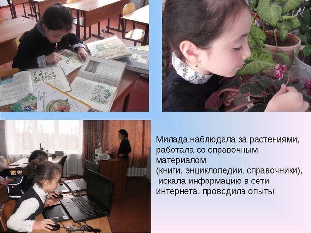 Милада наблюдала за растениями, работала со справочным материалом (книги, энц...