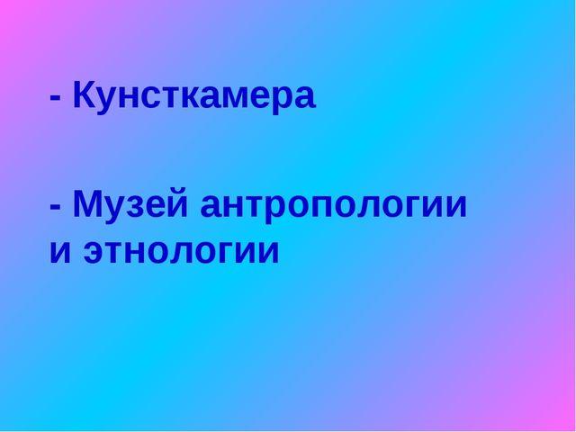 - Музей антропологии и этнологии - Кунсткамера