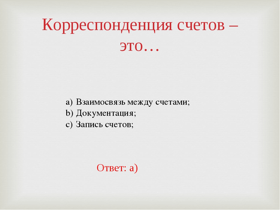 Корреспонденция счетов – это… Взаимосвязь между счетами; Документация; Запись...
