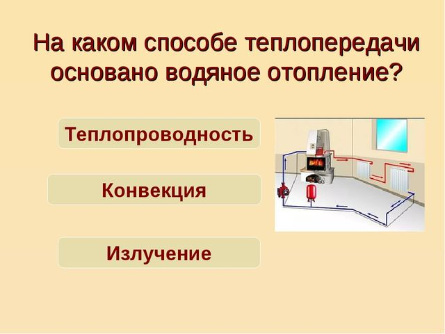 На каком способе теплопередачи основано водяное отопление? Теплопроводность К...