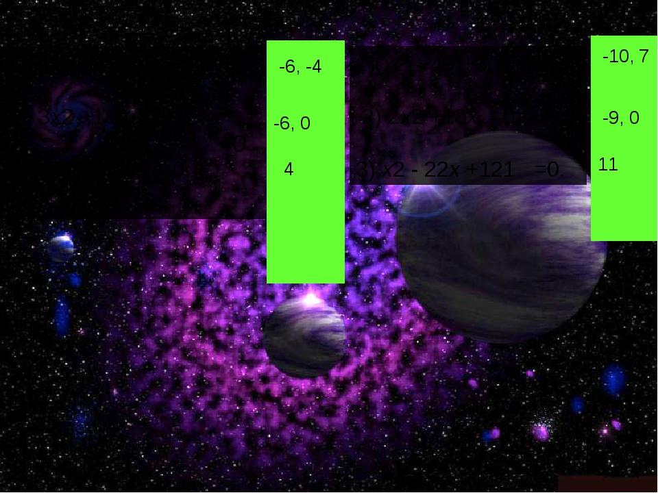 1)(x2 – 36)+10(х+6) = 0; 2) 3x2 +18x =0; 3) x2 - 8x + 16 =0. 1)(x2 – 49)+3(х-...
