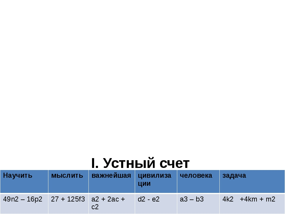 I. Устный счет ( a + c )2 = ( 2k + m ) 2 = ( d – e )( d + e ) = ( 7n – 4p )(...