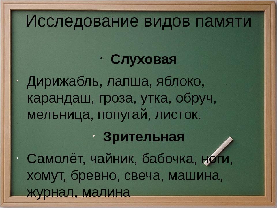 Исследование видов памяти Слуховая Дирижабль, лапша, яблоко, карандаш, гроза,...