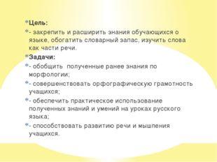 Цель: - закрепить и расширить знания обучающихся о языке, обогатить словарный