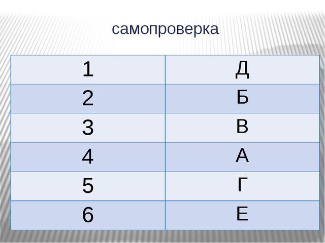 самопроверка 1 Д 2 Б 3 В 4 А 5 Г 6 Е