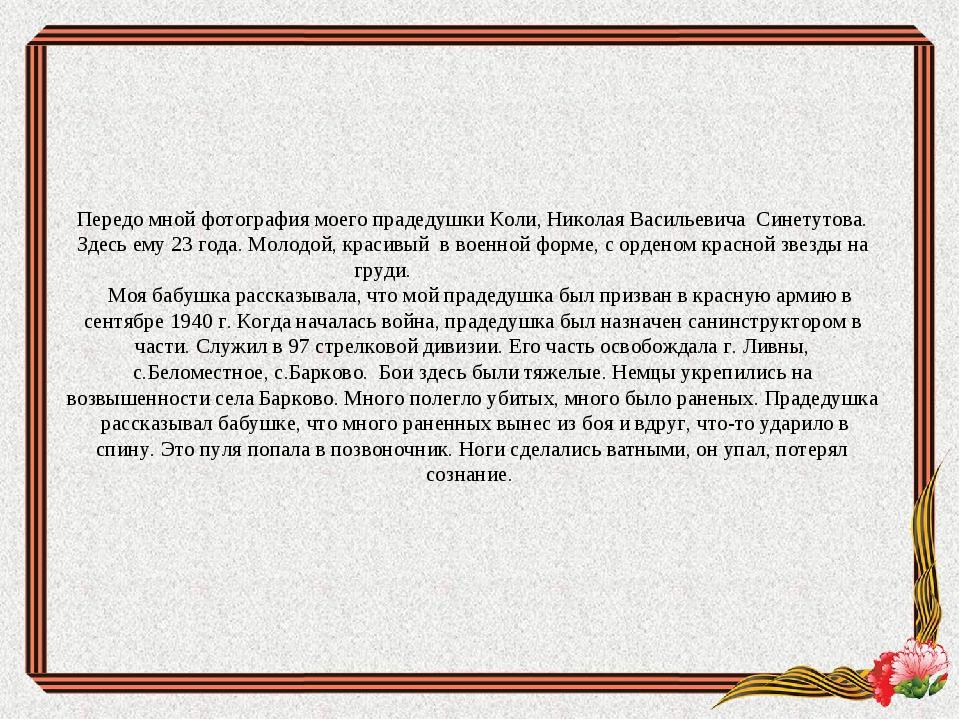 Передо мной фотография моего прадедушки Коли, Николая Васильевича Синетутова....