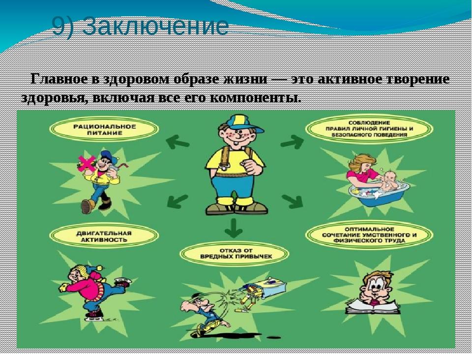 9) Заключение Главное в здоровом образе жизни — это активное творение здоров...