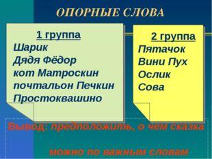 ОПОРНЫЕ СЛОВА 1 группа Шарик Дядя Фёдор кот Матроскин почтальон Печкин Просто