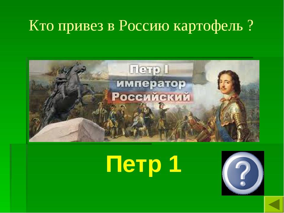 Кто привез в Россию картофель ? Петр 1
