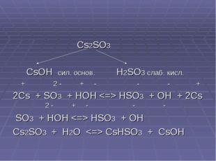 Cs2SO3 CsOH сил. основ. H2SO3 слаб. кисл. + 2 - + - - - + 2Cs + SO3 + HOH  H