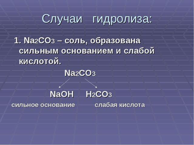 Случаи гидролиза: 1. Na2CO3 – соль, образована сильным основанием и слабой ки...