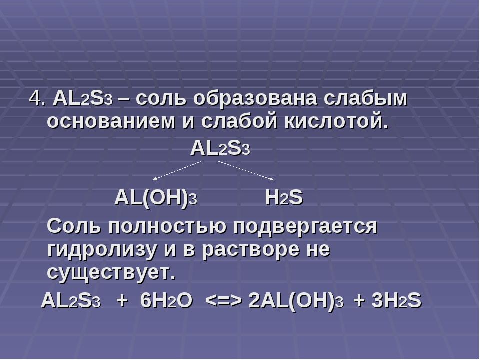 4. AL2S3 – соль образована слабым основанием и слабой кислотой. AL2S3 AL(OH)3...