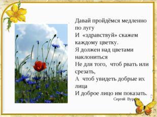 Давай пройдёмся медленно по лугу И «здравствуй» скажем каждому цветку. Я долж