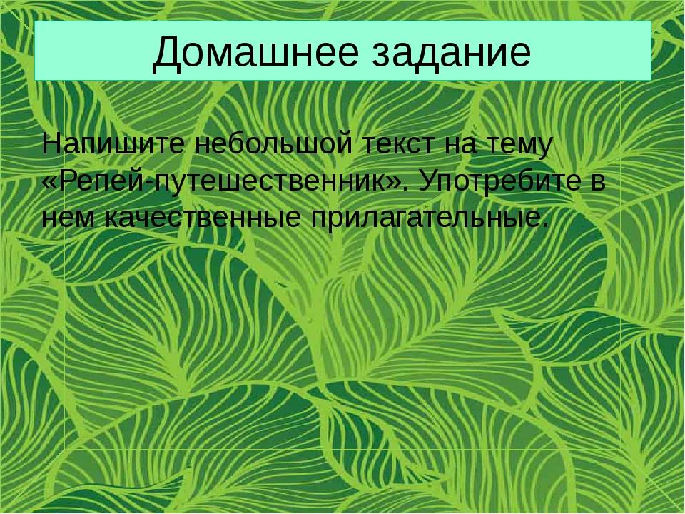 Домашнее задание Напишите небольшой текст на тему «Репей-путешественник». Упо...