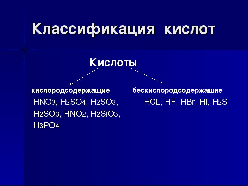 Классификация кислот Кислоты кислородсодержащие бескислородсодержашие HNO3, H...