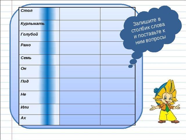 Запишите в столбик слова и поставьте к ним вопросы Стол Курлыкать Голубой Ра...