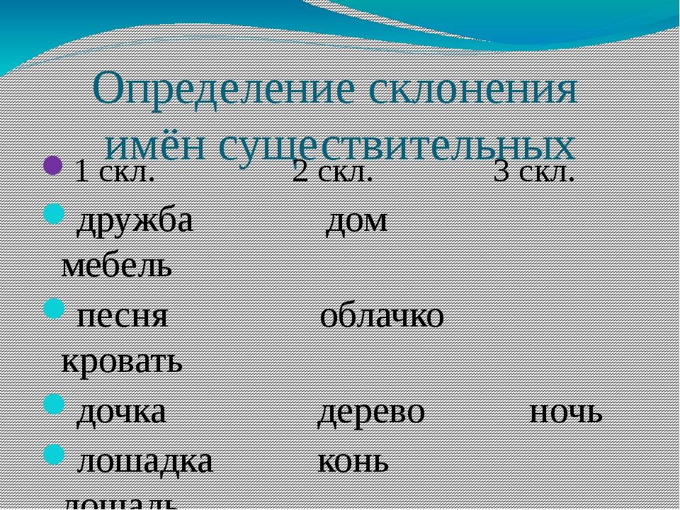 Определение склонения имён существительных 1 скл. 2 скл. 3 скл. дружба дом ме...