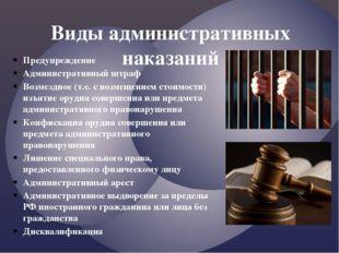 Предупреждение Административный штраф Возмездное (т.е. с возмещением стоимост