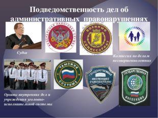 Подведомственность дел об административных правонарушениях Судьи Комиссия по