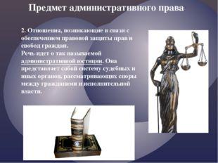 2. Отношения, возникающие в связи с обеспечением правовой защиты прав и свобо