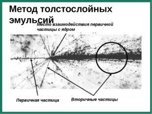 Первичная частица Вторичные частицы Место взаимодействия первичной частицы с
