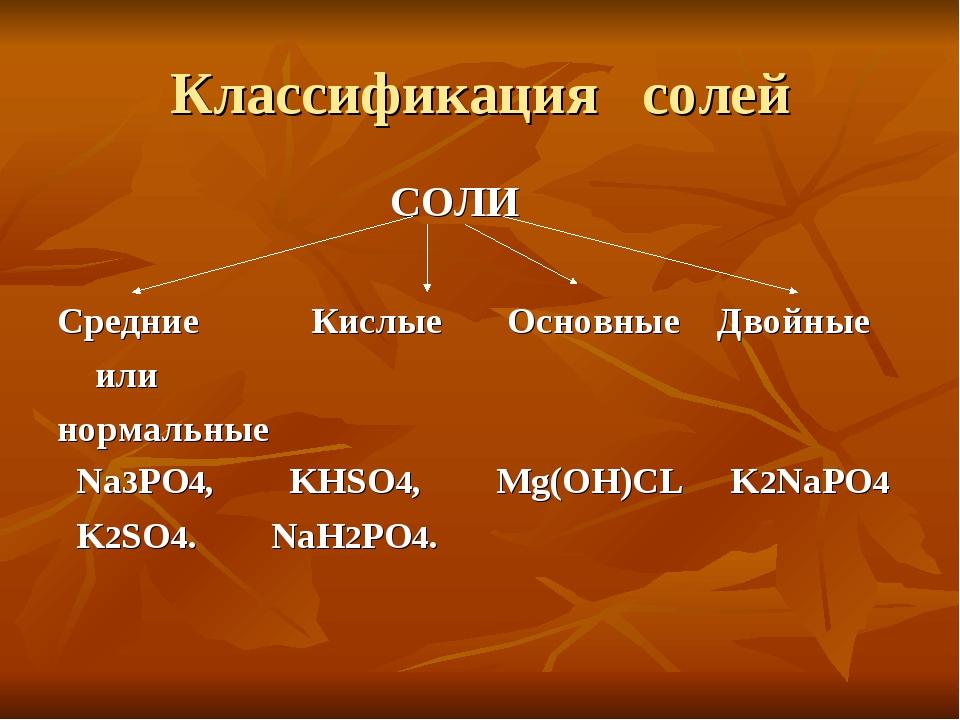 Классификация солей СОЛИ Средние Кислые Основные Двойные или нормальные Na3PO...