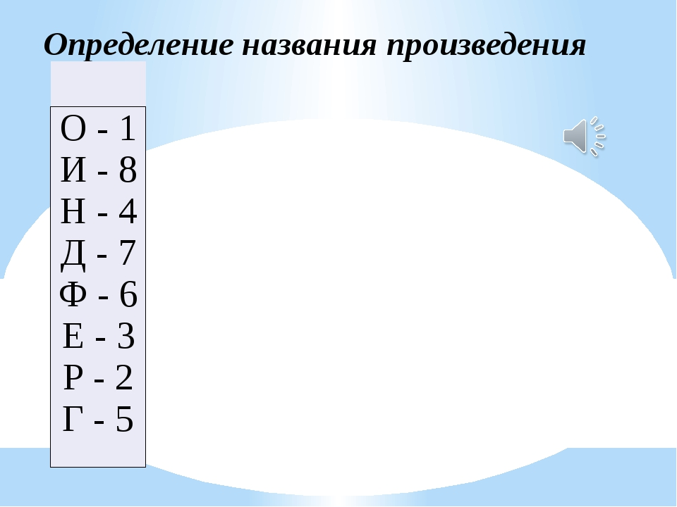 Определение названия произведения  О - 1 И - 8 Н - 4 Д - 7 Ф - 6 Е - 3 Р -...