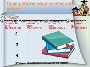 ГОУ средняя общеобразовательная школа № 924 22.11.2011 План работы педагогиче