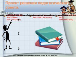 ГОУ средняя общеобразовательная школа № 924 22.11.2011 Проект решения педагог