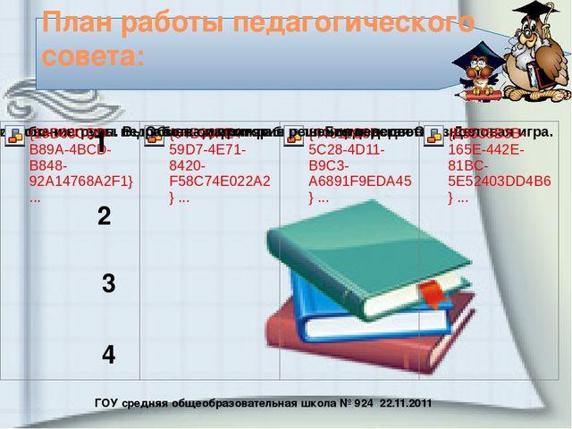 ГОУ средняя общеобразовательная школа № 924 22.11.2011 План работы педагогиче...